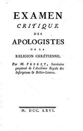 Examen critique des apologistes de la religion chrétienne