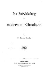 Die entwickelung der modernen Ethnologie PDF