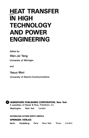Heat Transfer in High Technology and Power Engineering PDF