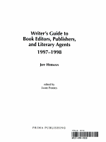 Writer's Guide to Book Editors, Publishers, and Literary Agents, 1997-1998
