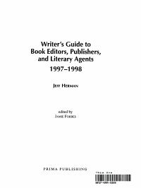 Writer s Guide to Book Editors  Publishers  and Literary Agents  1997 1998 PDF