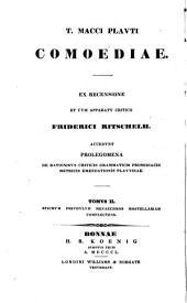T. Macci Plauti Comoediae: Stichus; Pseudulus; Menaechmi; Mostellaria