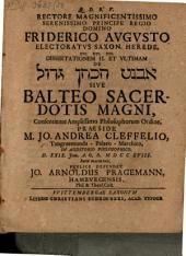 Dissertationem ... De Avnēṭ hak-kohēn gādôl sive balteo sacerdotis magni