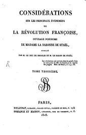 Considérations sur les principaux événemens de la Révolution Française: Volume3