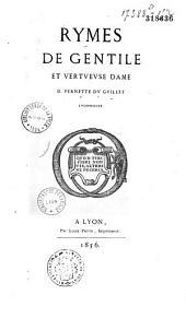 Rymes de gentile et vertueuse D. Pernette du Guillet, lyonnoise