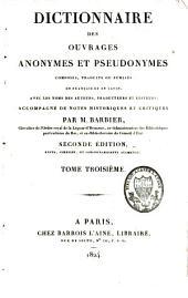 Dictionnaire des ouvrages anonymes et pseudonymes: Volume3