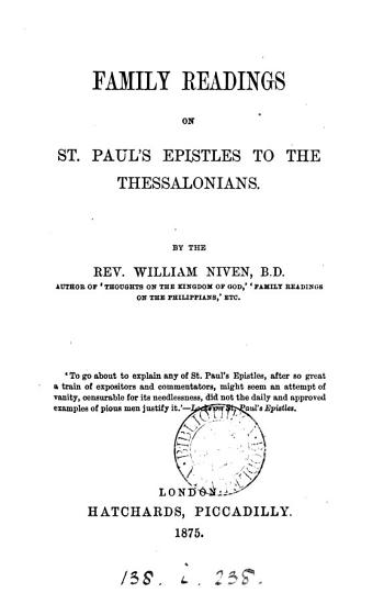 Family readings on st  Paul s Epistles to the Thessalonians PDF