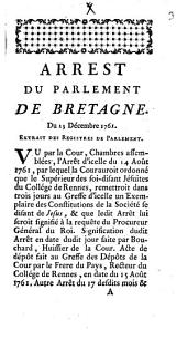 Requisitoire de Monsieur Procureur général du Parlement de Bretagne: 7. Dec. 1761