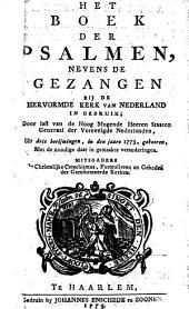 Het boek der psalmen, nevens de gezangen bij de hervormde kerk van Nederland in gebruik