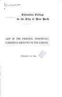 List of the Principal Periodicals Currently Received by the Library  February 1st  1894 PDF