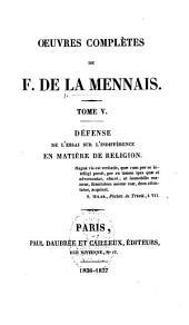 Oeuvres complètes de F. de La Mennais: Volumes5à6