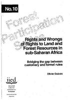 Rights and Wrongs of Rights to Land and Forest Resources in Sub Saharan Africa PDF