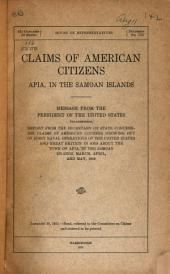 Claims of American Citizens, Apia, in the Samoan Islands