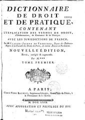 Dictionnaire de droit et de pratique...