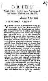 Brief Van eenen Deken van Antwerpen aen eenen Deken van Brussel