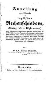Anweisung zum Gebrauche des englischen Rechenschiebers (etc.)