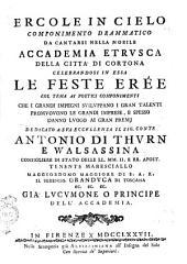 Ercole in cielo componimento drammatico da cantarsi nella nobile Accademia Etrusca della città di Cortona celebrandosi in essa le feste eree ... [parole di Stanislao Canovai