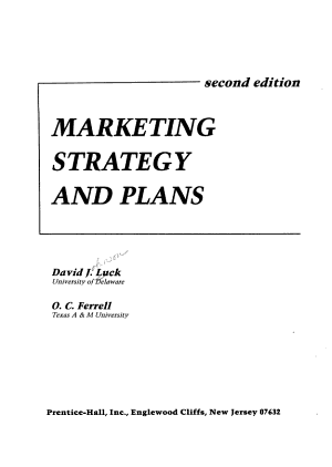 Marketing Strategy and Plans PDF