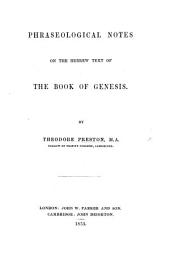 Phraseological Notes on the Hebrew text of the Book of Genesis