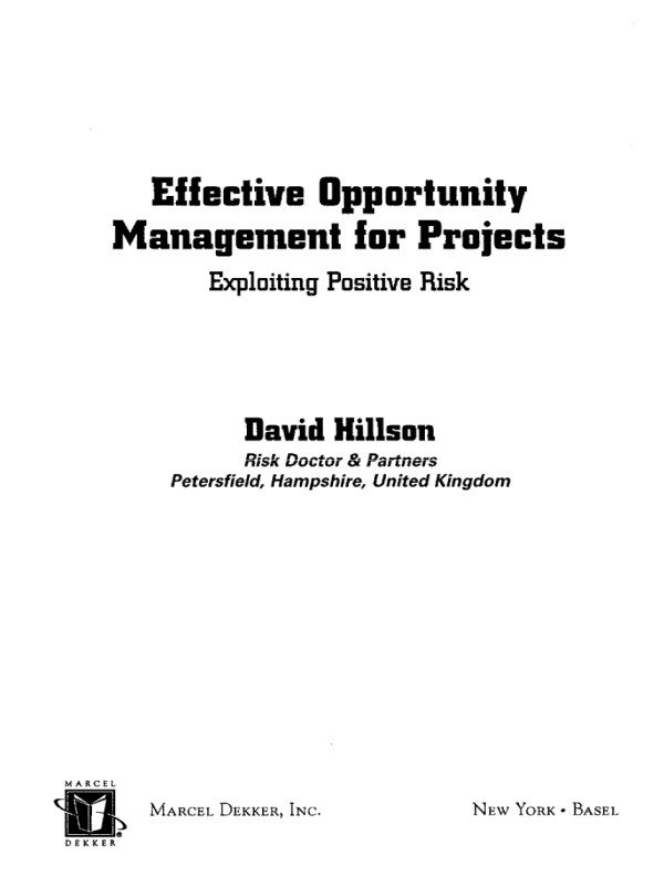 Effective Opportunity Management for Projects