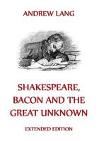 Shakespeare  Bacon And The Great Unknown  Annotated Edition  PDF