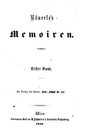 Bauerle s Memoiren PDF