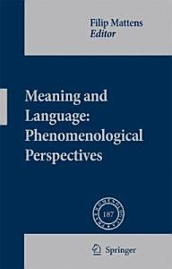 Meaning and Language  Phenomenological Perspectives PDF