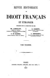 Revue historique de droit français et étranger: Volume3