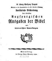 Georg Wolfgang Panzers Ausführliche Beschreibung der ältesten Augspurgischen Ausgaben der Bibel: mit litterar. Anmerkgn