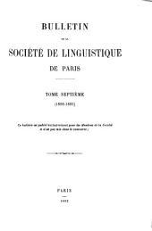 Bulletin de la Société de linguistique de Paris: Volumes6à10