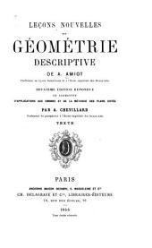 Leçons nouvelles de géométrie descriptive: Volume1