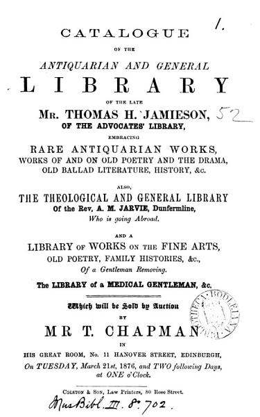 Download Catalogues of Items for Auction by Mr  T  Chapman  1840 1890 Book