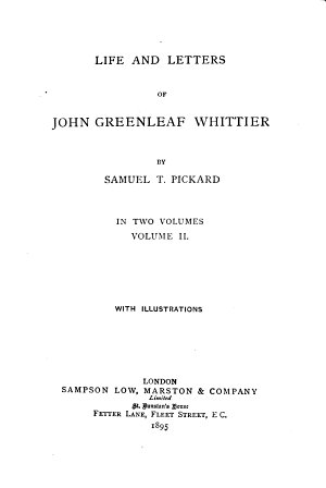Life and Letters of John Greenleaf Whittier
