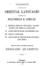 Catalogue of Works in the Oriental Languages Together with Polynesian & African