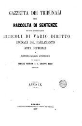 Gazzetta de Tribunali: con note ed osservazioni articoli di vario diritto e cronaca del Parlamento, Volume 9