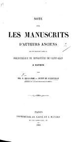 Note sur les manuscrits d'auteurs anciens qui se trouvent dans la bibliothèque du monastère de Saint Jean à Patmos