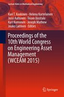 Proceedings of the 10th World Congress on Engineering Asset Management  WCEAM 2015  PDF