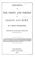 Specimens of the Poets and Poetry of Greece and Rome PDF