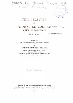 The Register of Thomas de Cobham  Bishop of Worcester  1317 1327 PDF