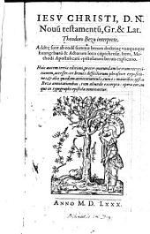 Iesv Christi, D. N. Novũ testamentũ. Gr. et Lat. Theodoro Beza interprete