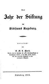 Das Jahr der Stiftung des Bisthums Ratzeburg