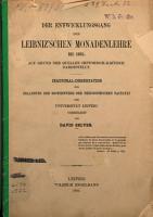 Der Entwicklungsgang der Leibniz schen Monadenlehre bis 1695 PDF