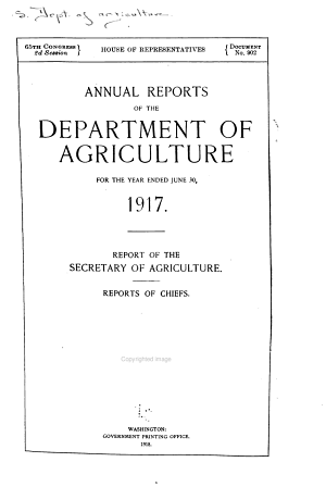Annual Reports of the Department of Agriculture for the Year Ended June 30  1917 PDF