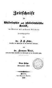 Zeitschrift für Philosophie und spekulative Theologie [afterw.] und philosophische Kritik, herausg. von J.H. Fichte: Volumes 17-18