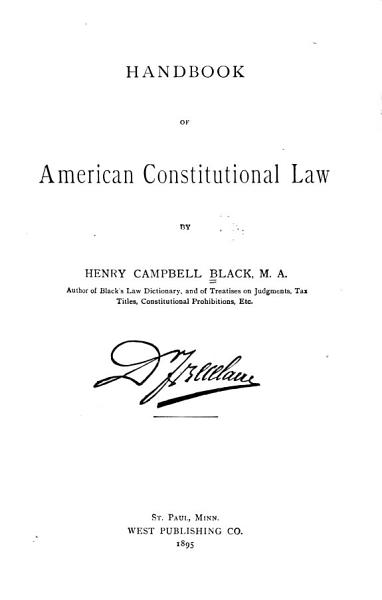 Handbook of American Constitutional Law PDF