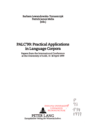 PALC 99  Practical Applications in Language Corpora PDF