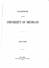 Calendar of the University of Michigan for ...