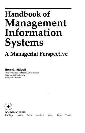Handbook of Management Information Systems PDF