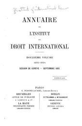 Annuaire de l'Institut de droit international: Volume12