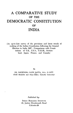 A Comparative Study of the Democratic Constitution of India PDF